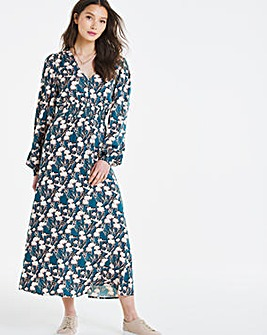 Green Print Shirred Tea Dress