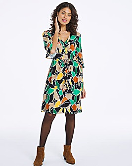 Abstract Print Tie Waist Tea Dress
