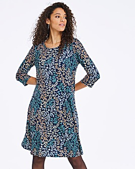 Butterfly Print Jersey Swing Dress