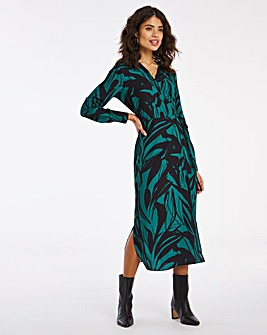 Green Leaf Print Wrap Dress