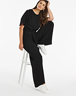 Black Angel Sleeve Tie Front Jumpsuit