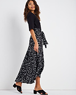 Mono Graphic Jersey Woven Mix Dress