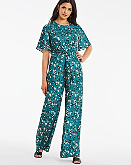 Green Animal Print Angel Sleeve Tie Front Jumpsuit