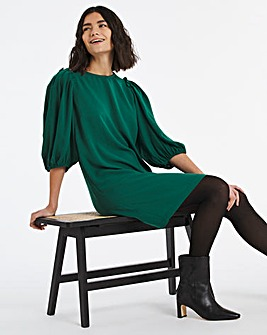 Green Puff Sleeve Shift Dress