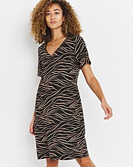 V-Neck Mono Print Linen Shift Dress