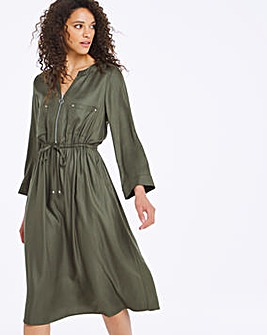 Khaki Zip Front Utility Dress
