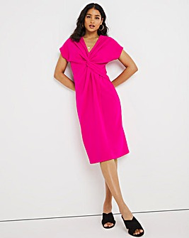 Pink Twist Front Occasion Dress