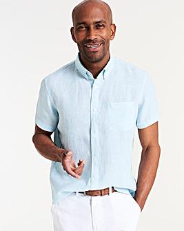 Short Sleeve Plain Linen Shirt