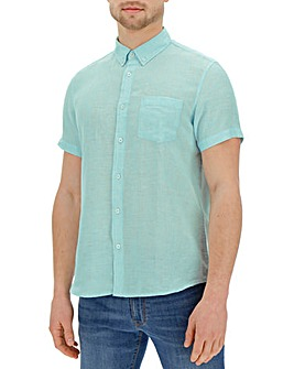 Short Sleeve Plain Linen Shirt Regular