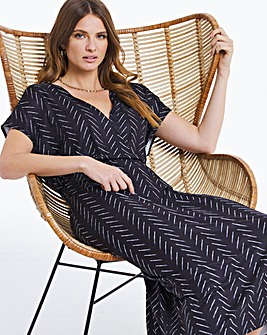 Zig Zag Gathered Front Wrap Midi Dress
