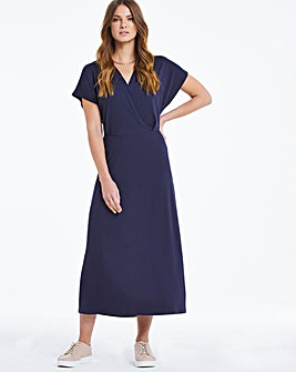 Dark Indigo Gathered Front Wrap Midi Dress
