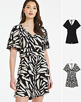 2 Pack Abstract Print/Black Angel Sleeve Playsuits