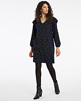 Blue Spot V Neck Shoulder Detail Dress