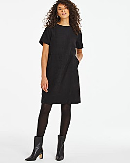 Black Textured Pocket Shift Dress