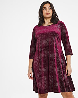 Mulberry Glitter 3/4 Sleeve Velour Swing Dress