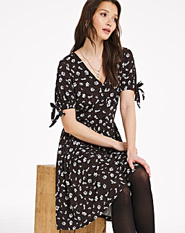 Animal Floral Ditsy Print Jersey Tea Dress With Tie Sleeves