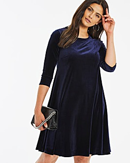Navy Velour Swing Dress