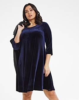 Navy 3/4 Sleeve Velour Swing Dress