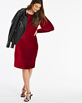 Mulberry Balloon Sleeve Velour Shift Dress