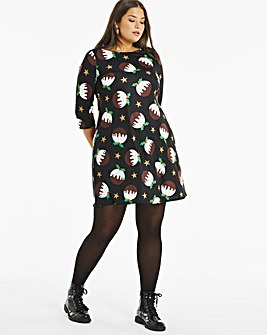 Pudding Novelty Print 3/4 Sleeve Swing Dress