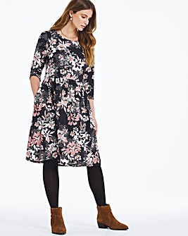 Floral Print Jersey Midi Dress With Pockets