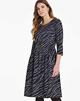 Zebra Jersey Dress With Pockets