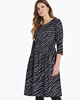 Zebra Print Jersey Midi Dress With Pockets