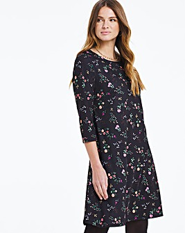 Dark Floral 3/4 Sleeve Swing Dress