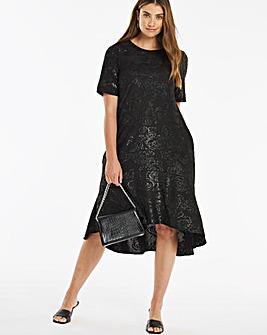 Black Jacquard Frill Hem Dress With Pockets