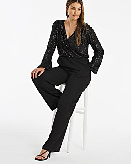 Black Sequin Wrap Front Wide Leg Jumpsuit