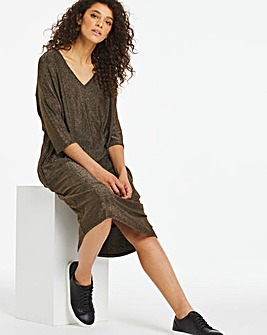 Gold Glitter Knit V-Neck T-Shirt Dress