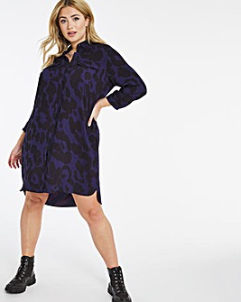 Blue Animal Pocket Shirt Dress