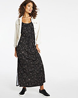 Blush Print Sleeveless Vest Maxi Dress