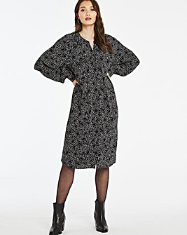 Mono Print Tie Waist Shift Dress