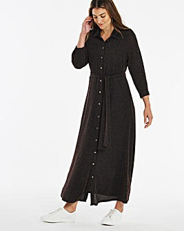 Black Glitter Knit Maxi Shirt Dress