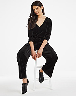 Black Embossed Velour Jumpsuit