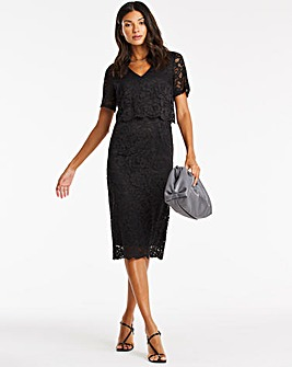 Black V-Neck Lace Shift Dress