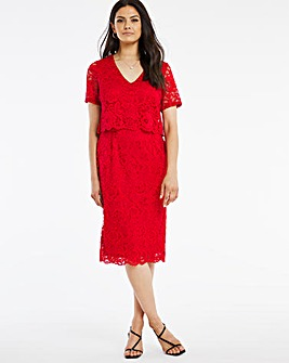 Red V-Neck Lace Shift Dress