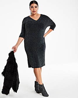Black Glitter Knit Loose V-Neck T-Shirt Dress