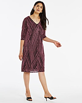 Printed Glitter Knit Loose V-Neck T-Shirt Dress With Pockets