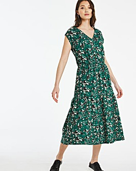 Green Floral Tiered Jersey Grown On Sleeve Midi Dress