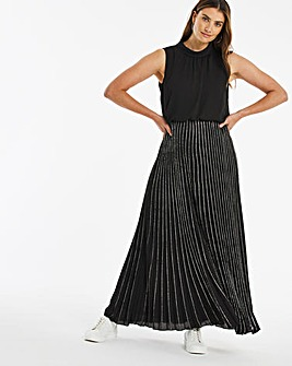 Black Glitter Skirt Pleated Maxi Dress