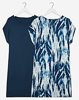 2 Pack Tie Dye/Navy T-Shirt Dresses