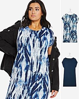 2 Pack Tie Dye/Navy T-Shirt Dresses