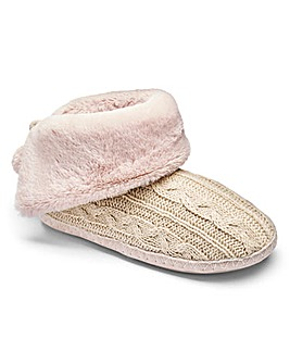 Knitted Fold Down Slipper Boot
