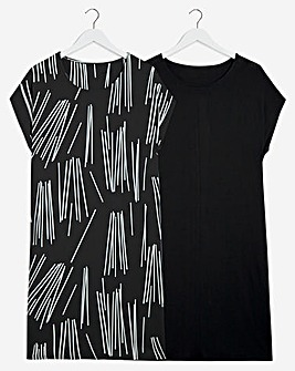 2 Pack Print/Black T-Shirt Dresses