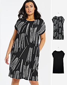 2 Pack Print/Black T-Shirt Dresses