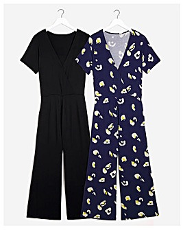 2 Pack Animal Print/Black Culotte Jumpsuits