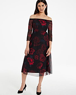Dark Floral Mesh Bardot Midi Dress