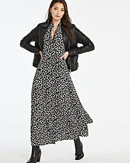 Mono Animal Button Front Maxi Dress